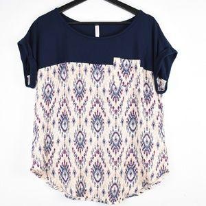 Xhilaration Short Sleeve T-Shirt Navy/Pink LARGE